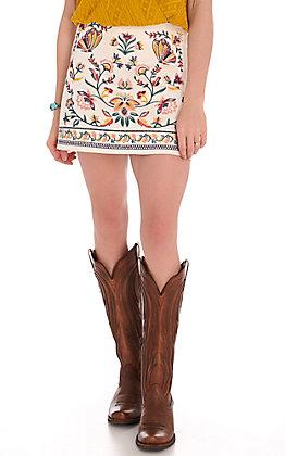 Rockin C White Embroidered Skirt
