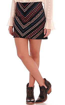 Rockin C Women's Black Velveteen Chevron Embroidered Skirt