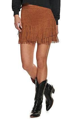 Flying Tomato Women's Camel Faux Suede Fringe Skirt
