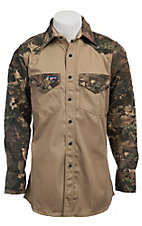 Lapco Khaki & Camo 2 Tone Flame Resistant Workshirt- Big & Tall