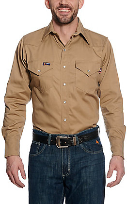 Lapco Khaki Flame Resistant Workshirt  IKH7WSX- Big & Tall