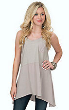 Karlie Women's Grey Pocket Seamed Sleeveless Knit Tunic