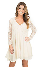 PPLA Women's Cream with Lace Yokes and Long Sleeve Dress