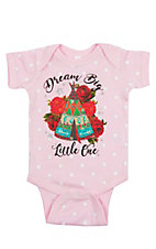 Girls' Pink Polka Dot Dream Big Little One with Teepee Short Sleeve Onesie