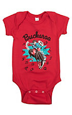 Boy's Red Buckaroo and Brands Short Sleeve Onesie