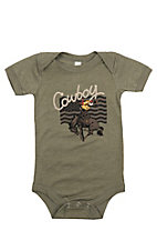 Boy's Olive Cowboy Bronc Rider with Flag Short Sleeve Onesie