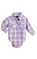 Cowgirl Legend Infant Girls Purple Plaid Rhinestone Long Sleeve Western Snap Onesie