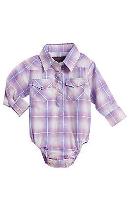 Cowgirl Legend Infant Girls Purple Plaid Rhinestone Long Sleeve Western Snap Onesie