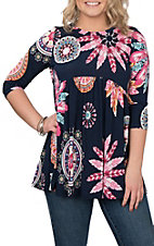 James C Women's Navy and Pink Feather Print Babydoll Fashion Shirt