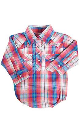 Cowgirl Hardware Infants Pink Plaid Long Sleeve Western Snap Shirt Onesie