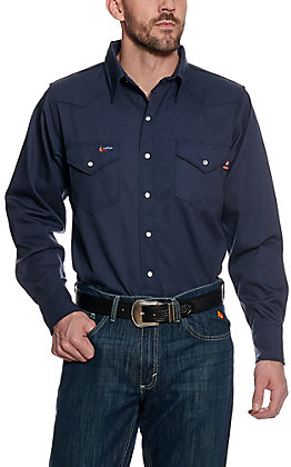 Lapco Navy Flame Resistant Workshirt  INV7WSX- Big & Tall