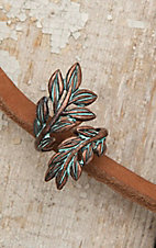 Amber's Allie Turquoise Patina Leaf Wrap Ring