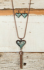 Copper with Turquoise Patina Heart Tassel Necklace & Earrings Jewelry Set IP344