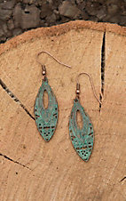Amber's Allie Bronze with Turquoise Wash Teardrop Shape Earrings