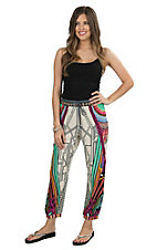 Flying Tomato Women's Ivory with Multicolor Mixed Print Jogger Pants