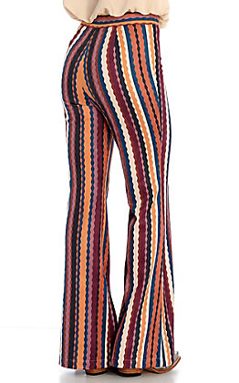 Rockin C Women's Multi-Colored Zig Zag Faux Suede Flare Pants