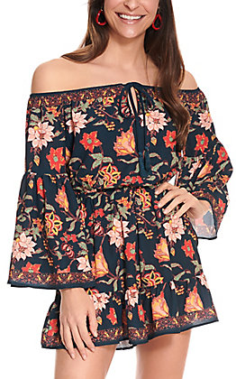 Flying Tomato Women's Navy with Floral Print Off the Shoulder Bell Sleeves Romper