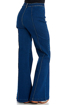 Rockin C Women's Dark Wash High Wasted with Center Seam Flare Jeans