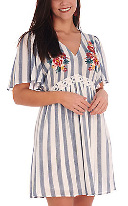 Rockin C Women's Blue & White Stripe with Floral Embroidery Short Sleeve Dress
