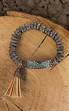 Amber's Allie Bronze with Turquoise Wash and Tassel Elastic Bracelet