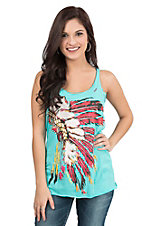 Bohemian Cowgirl Women's Turquoise with Indian Headdress Screen Print Sleeveless Casual Knit Tank Top