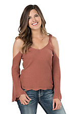 Flying Tomato Women's Dusty Pink with Cold Shoulders and Long Bell Sleeves Fashion Top