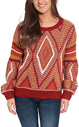 Flying Tomato Women's Multi Rust Colored Sweater