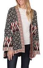 Flying Tomato Women's Black and Red Aztec Sweater Cardigan