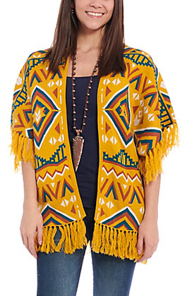 Flying Tomato Women's Mustard Aztec Fringe Sweater