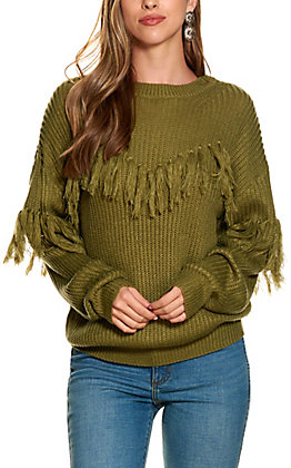 Flying Tomato Women's Olive with Tassels Long Sleeve Sweater