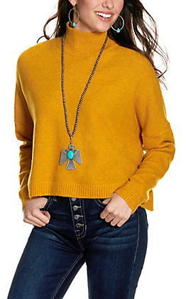 Flying Tomato Women's Mustard Mock Neck Cropped Long Sleeve Sweater