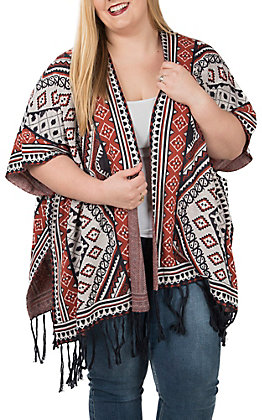 Flying Tomato Women's Black and Rust Fringe Aztec Poncho - Plus Size