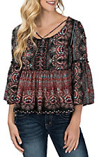 Flying Tomato Women's Navy Multi-Color Paisley Print Bell Sleeve Fashion Shirt