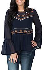 Flying Tomato Women's Navy Embroidered Long Bell Sleeve Fashion Shirt
