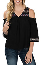 Flying Tomato Women's Black Embroidered Cold Shoulder Fashion Shirt