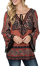 Flying Tomato Women's Rust Medallion Print with Lace Fashion Shirt