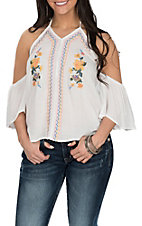 Flying Tomato Women's White with Embroidery Halter Cold Shoulder Fashion Shirt