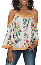 Flying Tomato Women's Ivory Floral Cold Shoulder Fashion Shirt