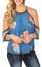 Flying Tomato Women's Blue Floral Cold Shoulder Fashion Shirt