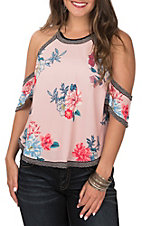 Flying Tomato Women's Mauve Pink Floral Cold Shoulder Fashion Shirt