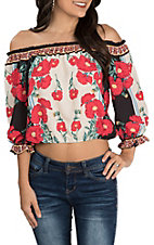 Flying Tomato Women's Ivory and Black with Red Floral Print Off the Shoulder 3/4 Sleeve Cropped Fashion Top