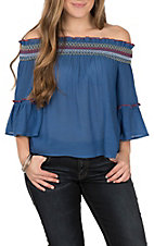 Flying Tomato Women's Blue Off the Shoulder Embroidered Fashion Shirt