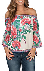 Flying Tomato Women's Ivory with Red Floral Print Off the Shoulder Long Bell Sleeve Fashion Top