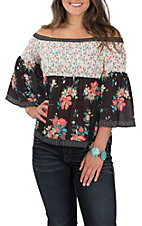 Flying Tomato Women's Black and White with Floral Print Smocked Off the Shoulder 3/4 Sleeve Fashion Top