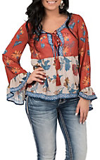Flying Tomato Women's Rust Floral Print Bell Sleeve Fashion Top