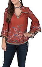 Jealous Tomato Women's Rust Floral Sleeve Fashion Top