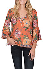 Flying Tomato Women's Rust Floral Bell Sleeve V-Neck Top