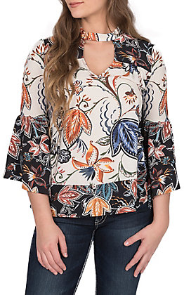 Jealous Tomato Women's Ivory and Black Floral Bell Sleeve Fashion Top