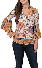 Jealous Tomato Women's Ivory and Mustard Floral Bell Sleeve Fashion Top