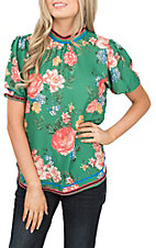 Flying Tomato Women's Green Floral Print Fashion Top